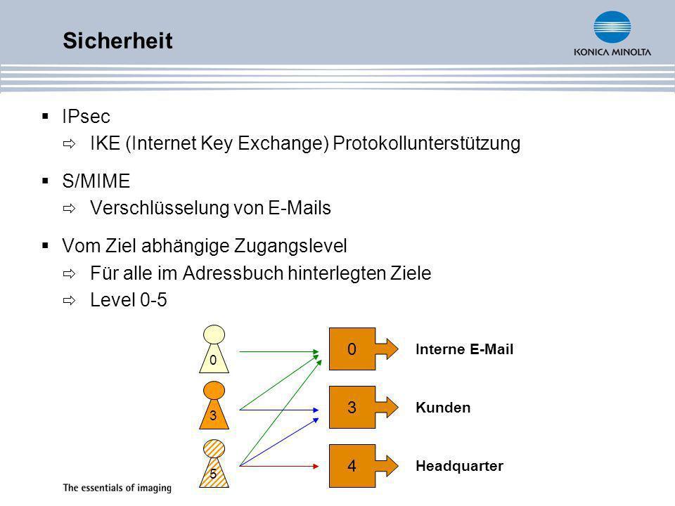 Sicherheit IPsec IKE (Internet Key Exchange) Protokollunterstützung