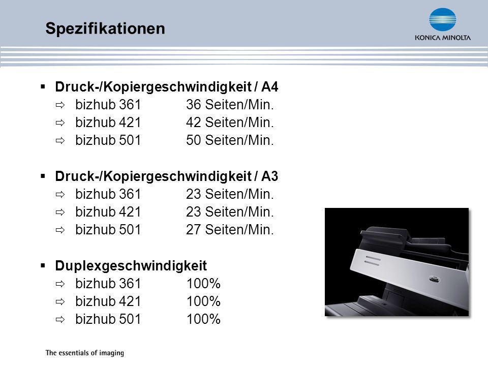 Spezifikationen Druck-/Kopiergeschwindigkeit / A4