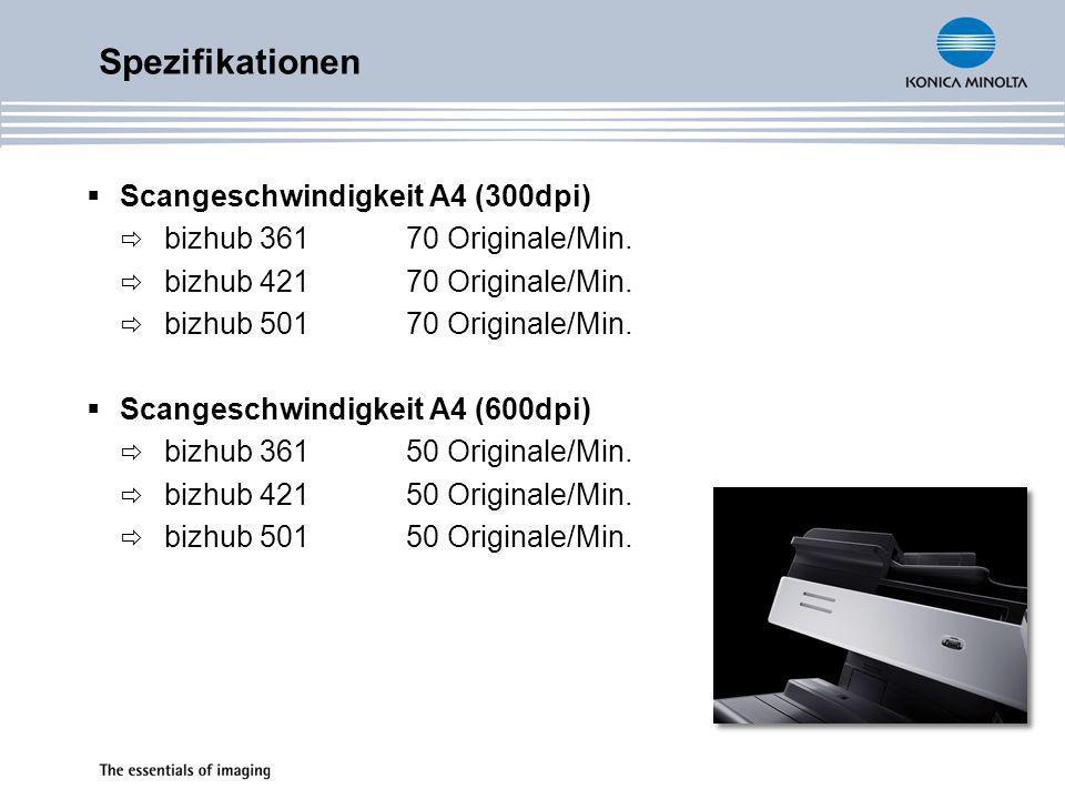 Spezifikationen Scangeschwindigkeit A4 (300dpi)