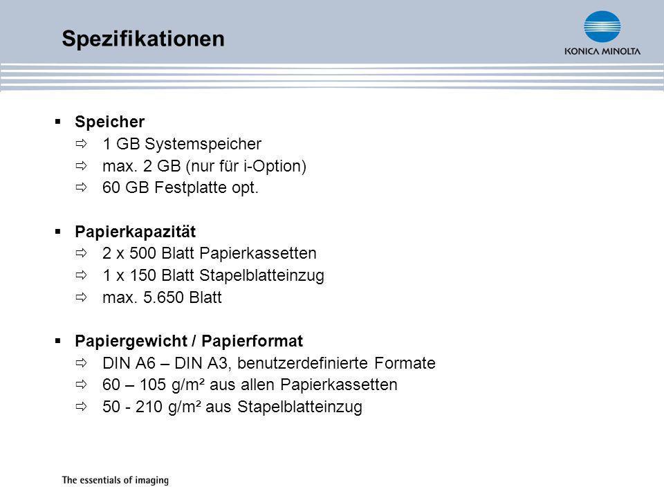 Spezifikationen Speicher 1 GB Systemspeicher