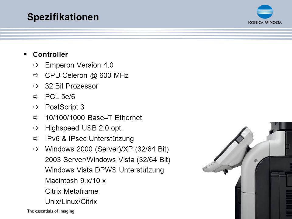 Spezifikationen Controller Emperon Version 4.0 CPU Celeron @ 600 MHz