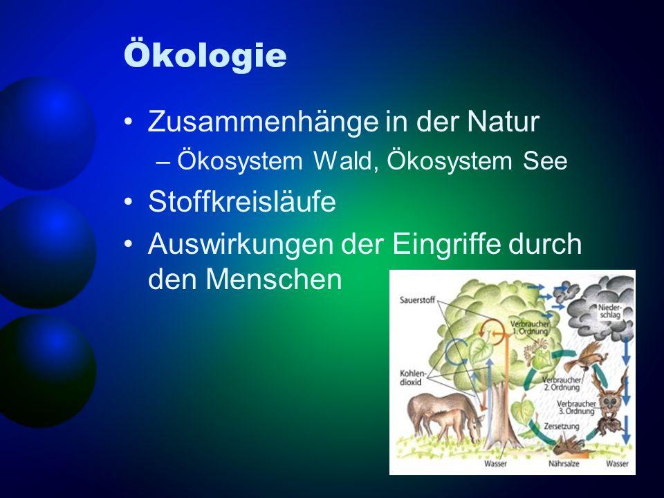 Ökologie Zusammenhänge in der Natur Stoffkreisläufe