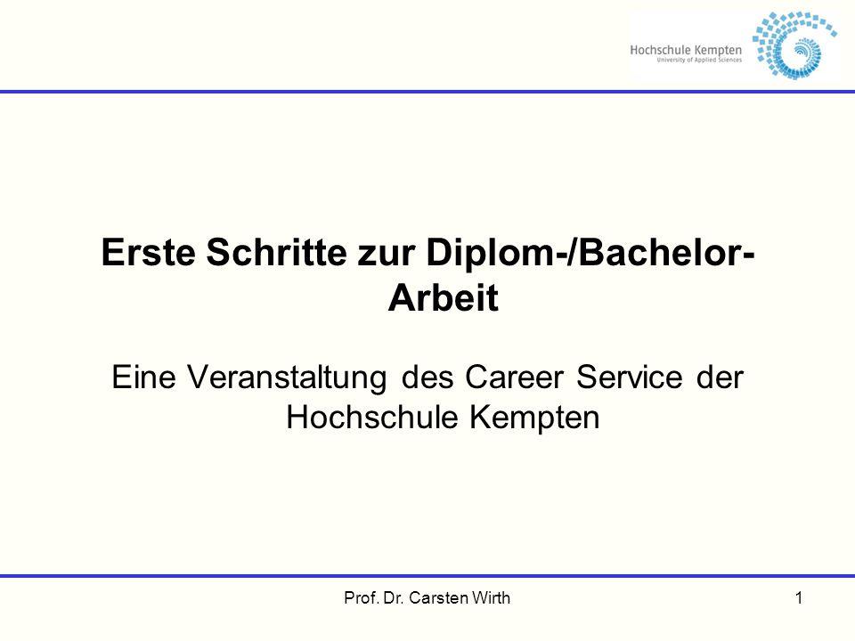 Erste Schritte zur Diplom-/Bachelor- Arbeit