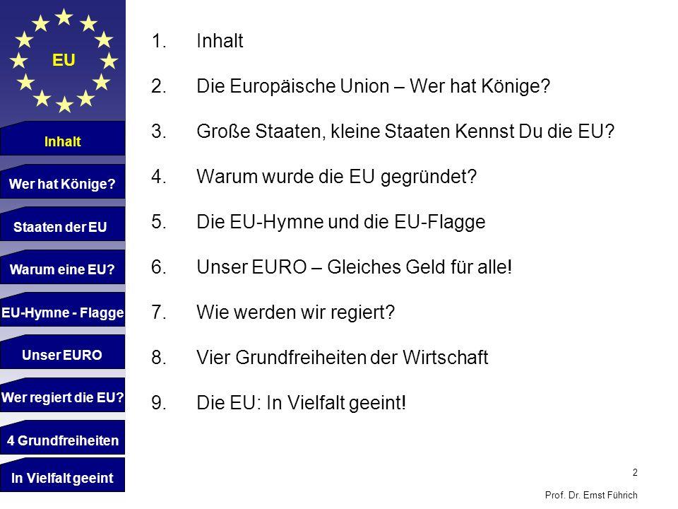 Die Europäische Union – Wer hat Könige