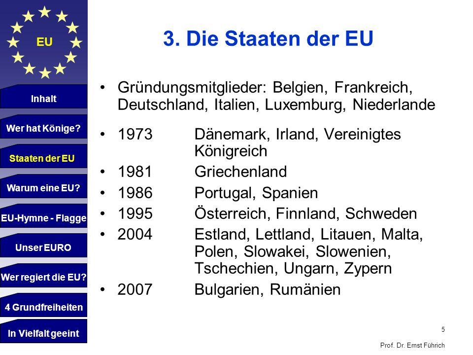 3. Die Staaten der EU EU. Gründungsmitglieder: Belgien, Frankreich, Deutschland, Italien, Luxemburg, Niederlande.
