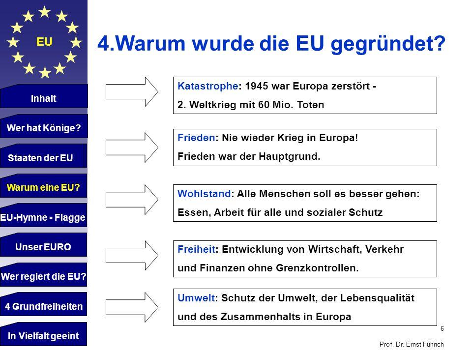 4.Warum wurde die EU gegründet
