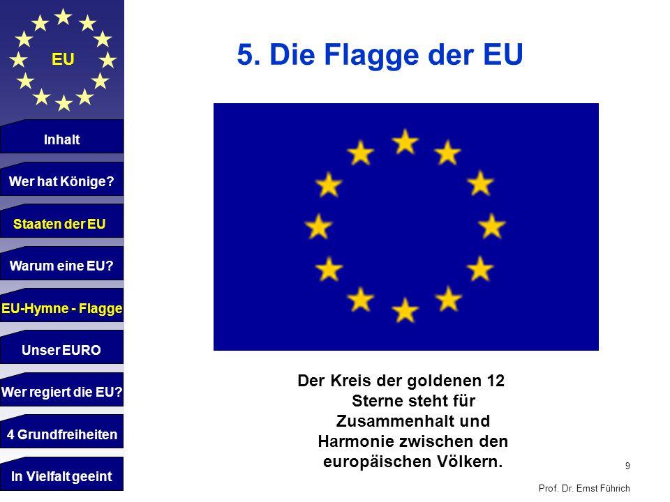5. Die Flagge der EU EU. Inhalt. Wer hat Könige Staaten der EU. Staaten der EU. Warum eine EU