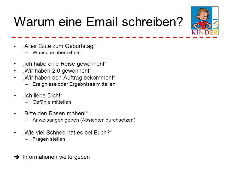 Warum eine Email schreiben