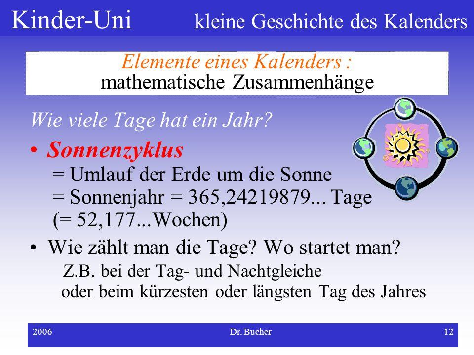 Elemente eines Kalenders : mathematische Zusammenhänge