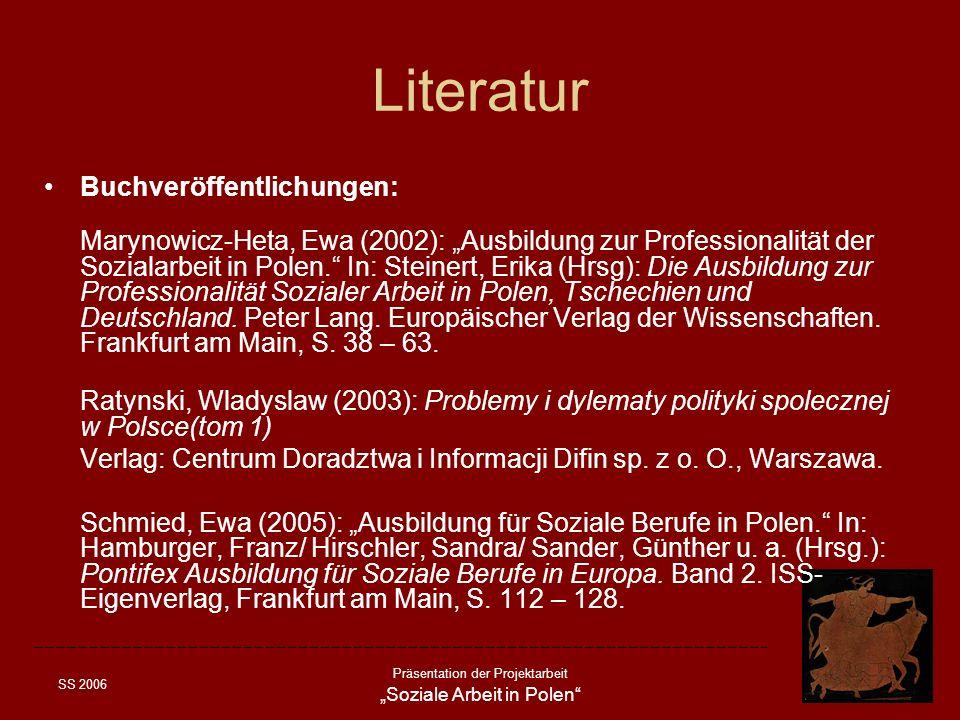 Literatur Buchveröffentlichungen: