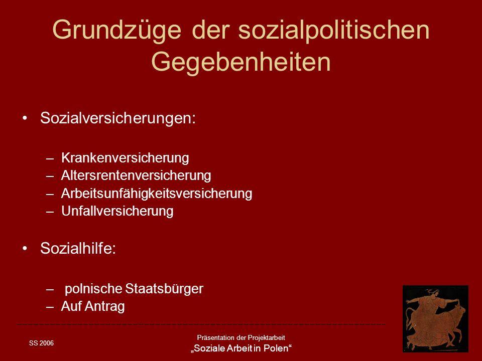 Grundzüge der sozialpolitischen Gegebenheiten