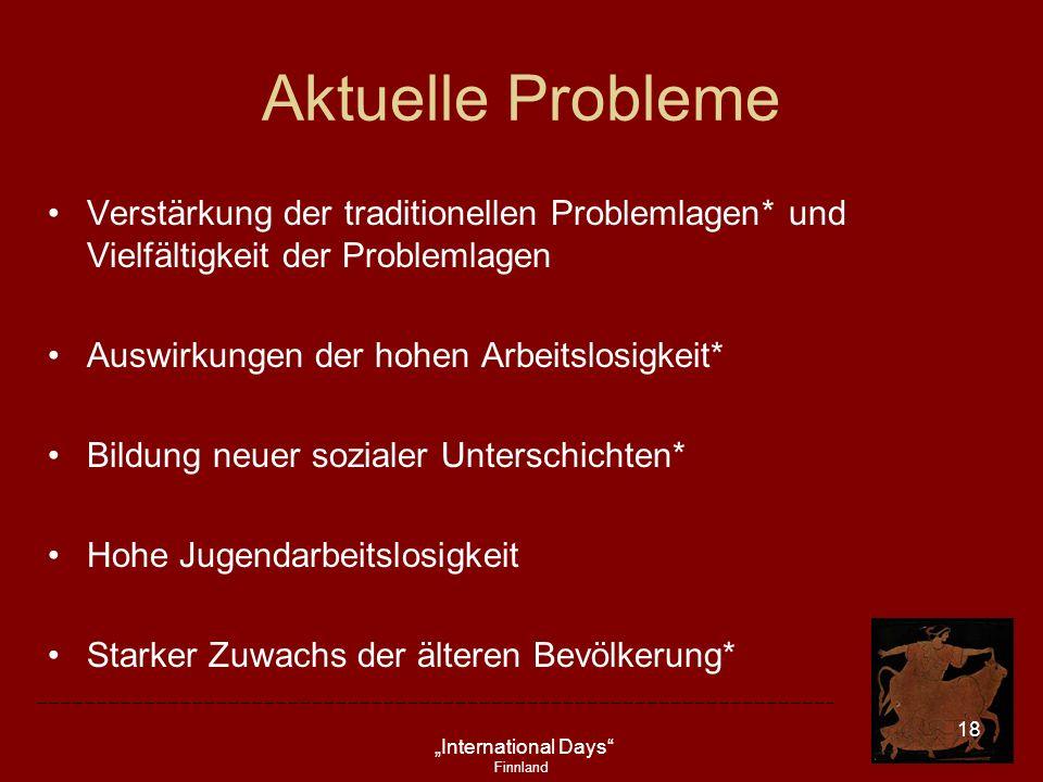 Aktuelle Probleme Verstärkung der traditionellen Problemlagen* und Vielfältigkeit der Problemlagen.