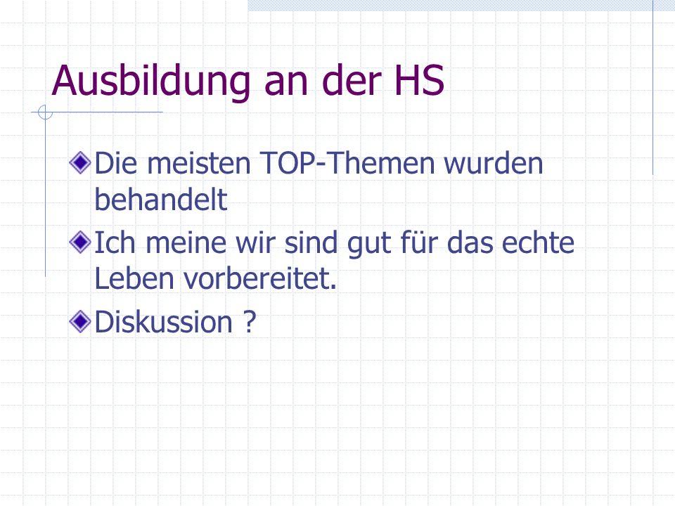 Ausbildung an der HS Die meisten TOP-Themen wurden behandelt