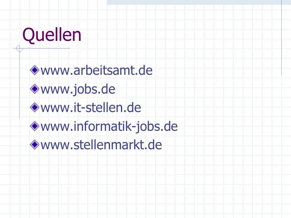 Quellen www.arbeitsamt.de www.jobs.de www.it-stellen.de