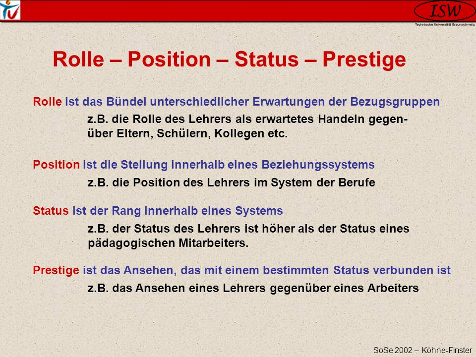 Rolle – Position – Status – Prestige