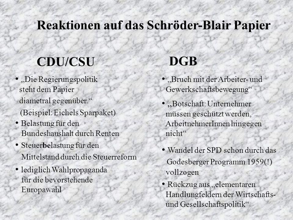 Reaktionen auf das Schröder-Blair Papier