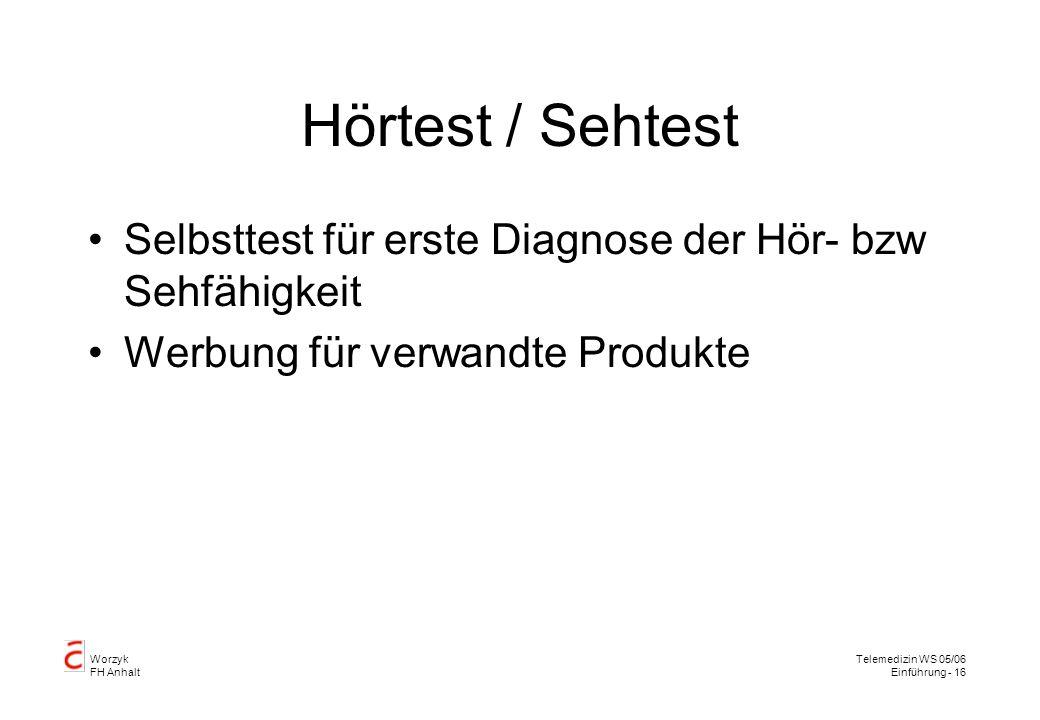 Hörtest / Sehtest Selbsttest für erste Diagnose der Hör- bzw Sehfähigkeit.