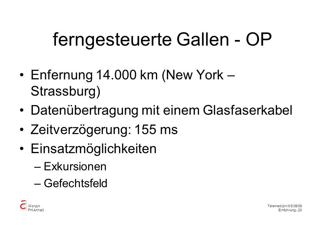 ferngesteuerte Gallen - OP