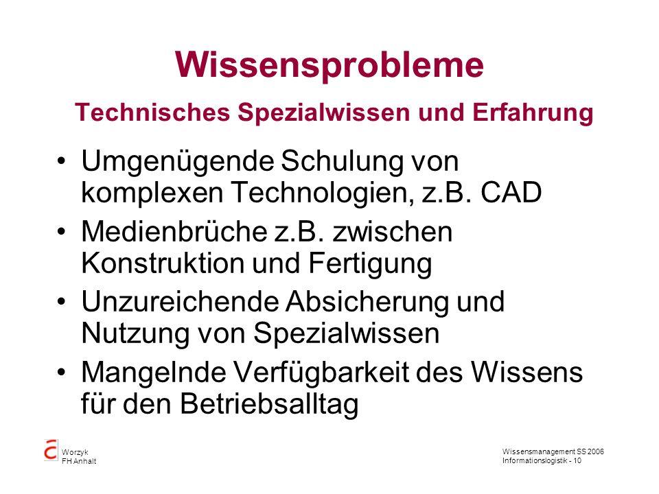 Wissensprobleme Technisches Spezialwissen und Erfahrung