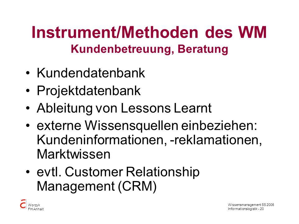 Instrument/Methoden des WM Kundenbetreuung, Beratung