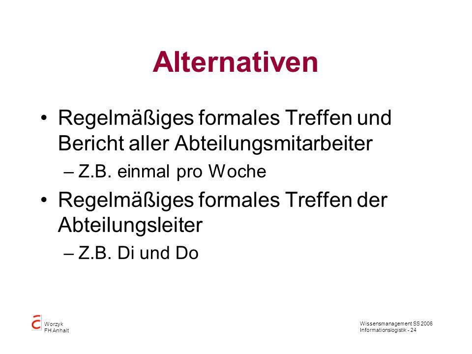 Alternativen Regelmäßiges formales Treffen und Bericht aller Abteilungsmitarbeiter. Z.B. einmal pro Woche.