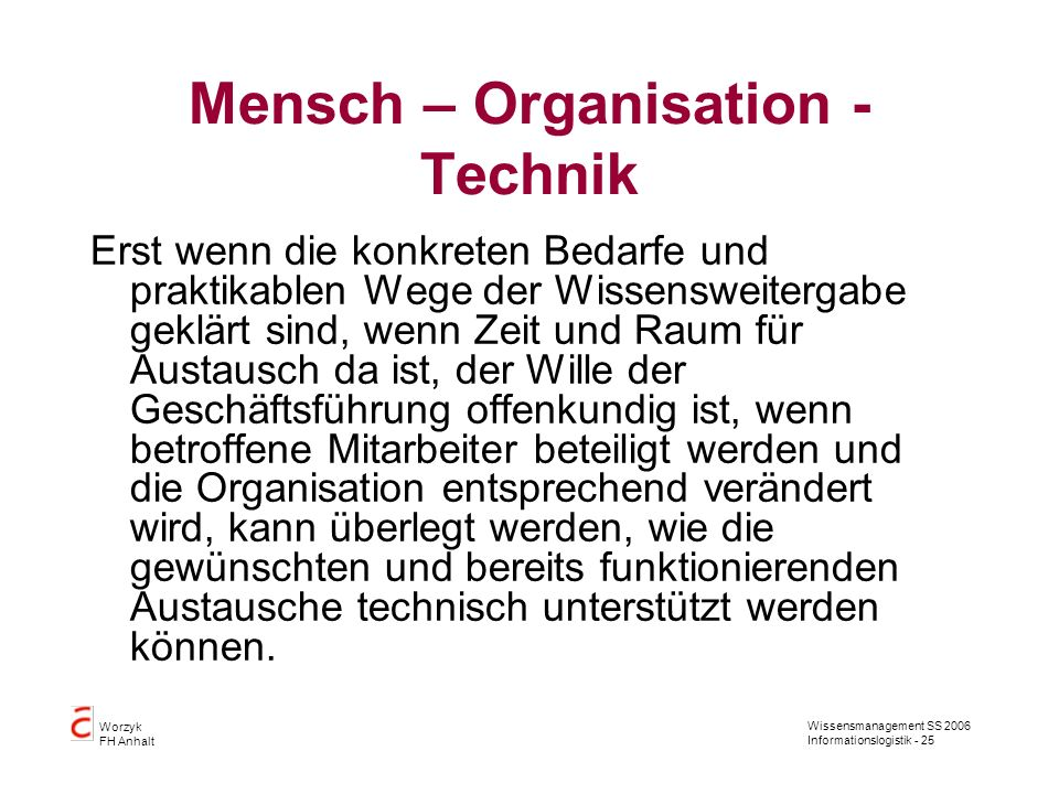 Mensch – Organisation - Technik
