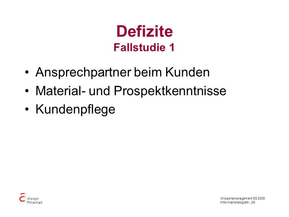 Defizite Fallstudie 1 Ansprechpartner beim Kunden
