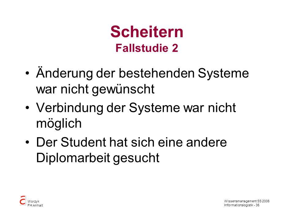 Scheitern Fallstudie 2 Änderung der bestehenden Systeme war nicht gewünscht. Verbindung der Systeme war nicht möglich.