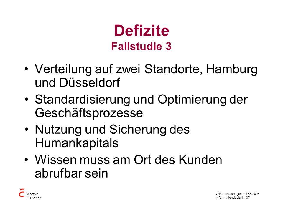 Defizite Fallstudie 3 Verteilung auf zwei Standorte, Hamburg und Düsseldorf. Standardisierung und Optimierung der Geschäftsprozesse.