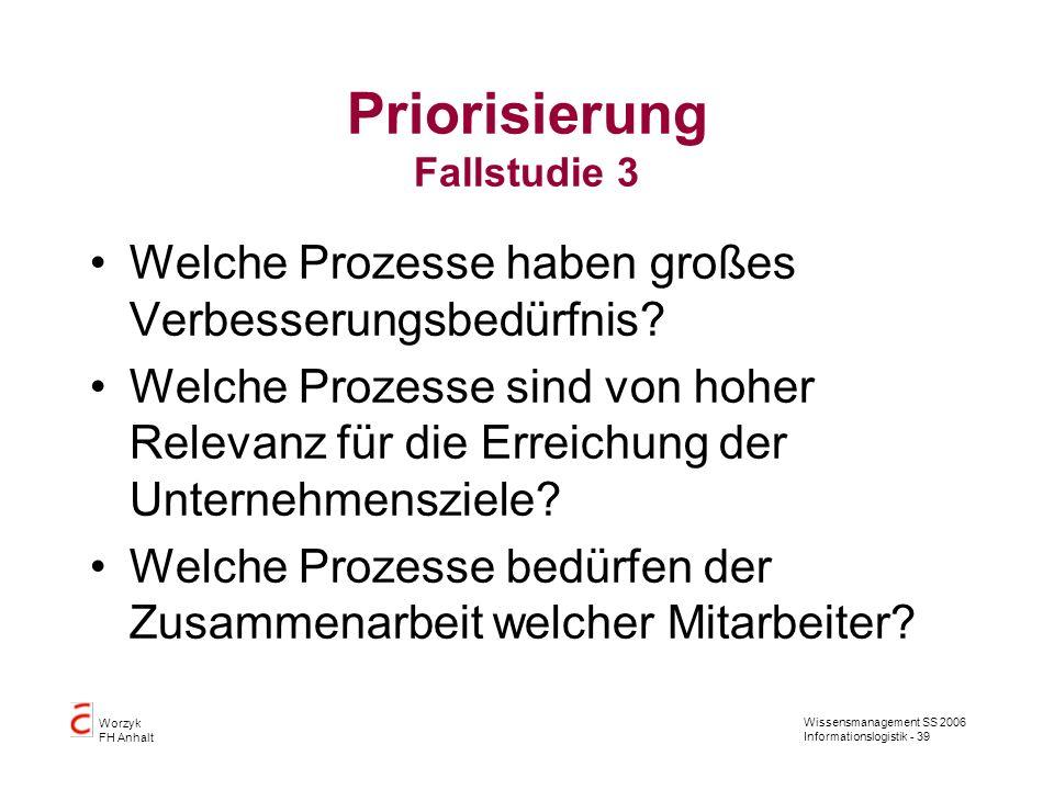 Priorisierung Fallstudie 3