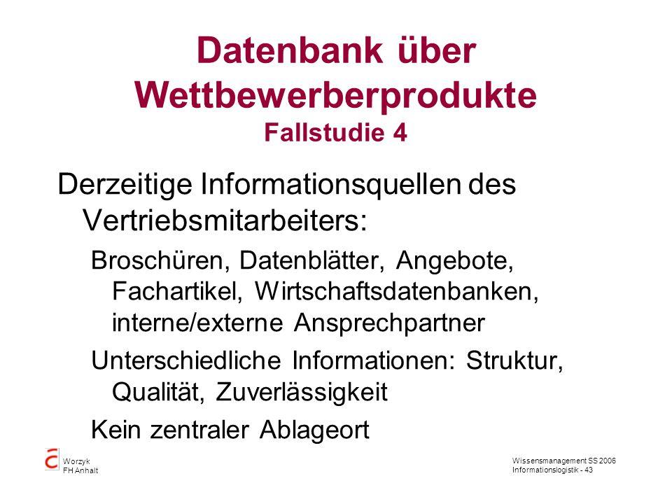 Datenbank über Wettbewerberprodukte Fallstudie 4