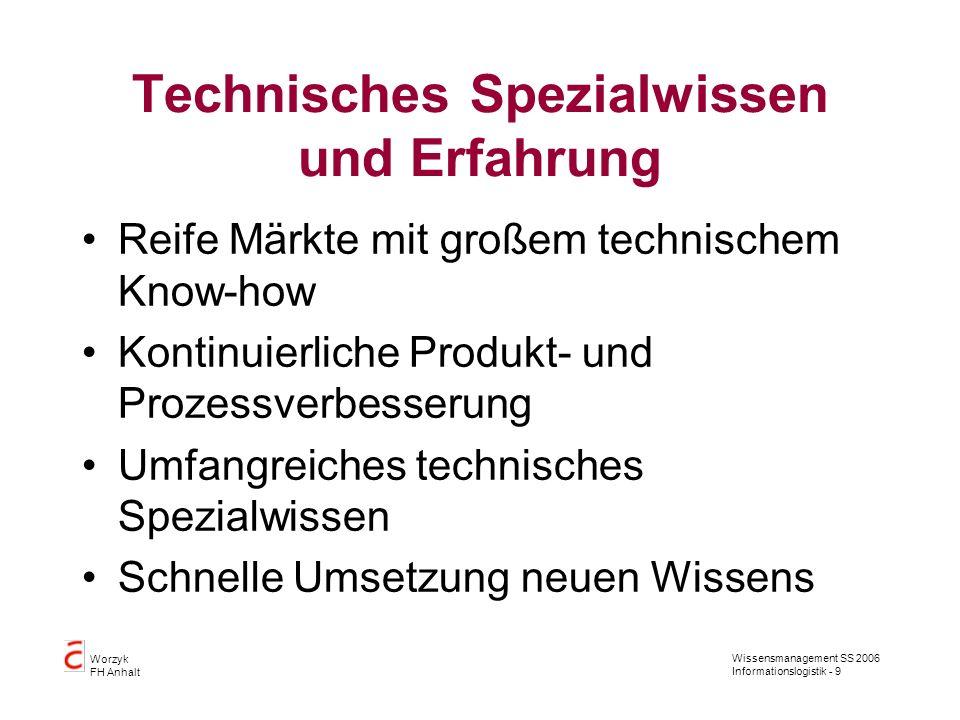 Technisches Spezialwissen und Erfahrung