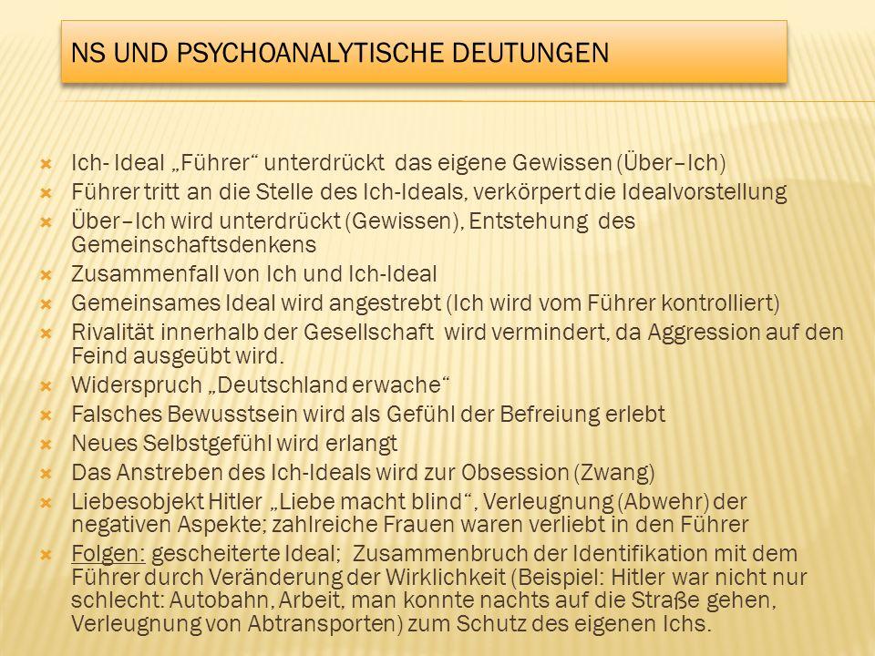 NS UND PSYCHOANALYTISCHE DEUTUNGEN