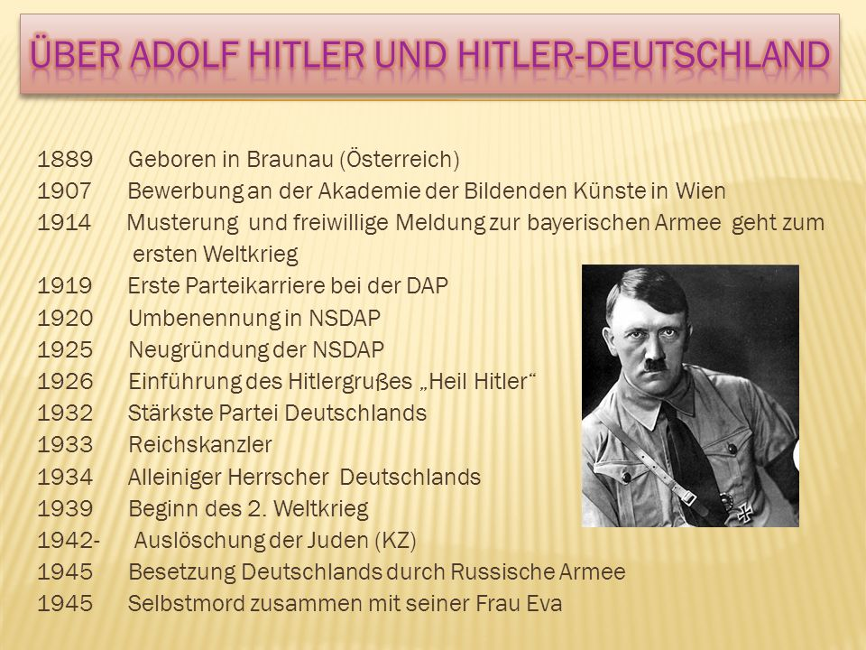 Über Adolf Hitler und HITLER-Deutschland