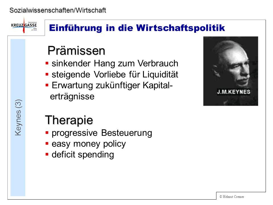 Therapie Einführung in die Wirtschaftspolitik Prämissen