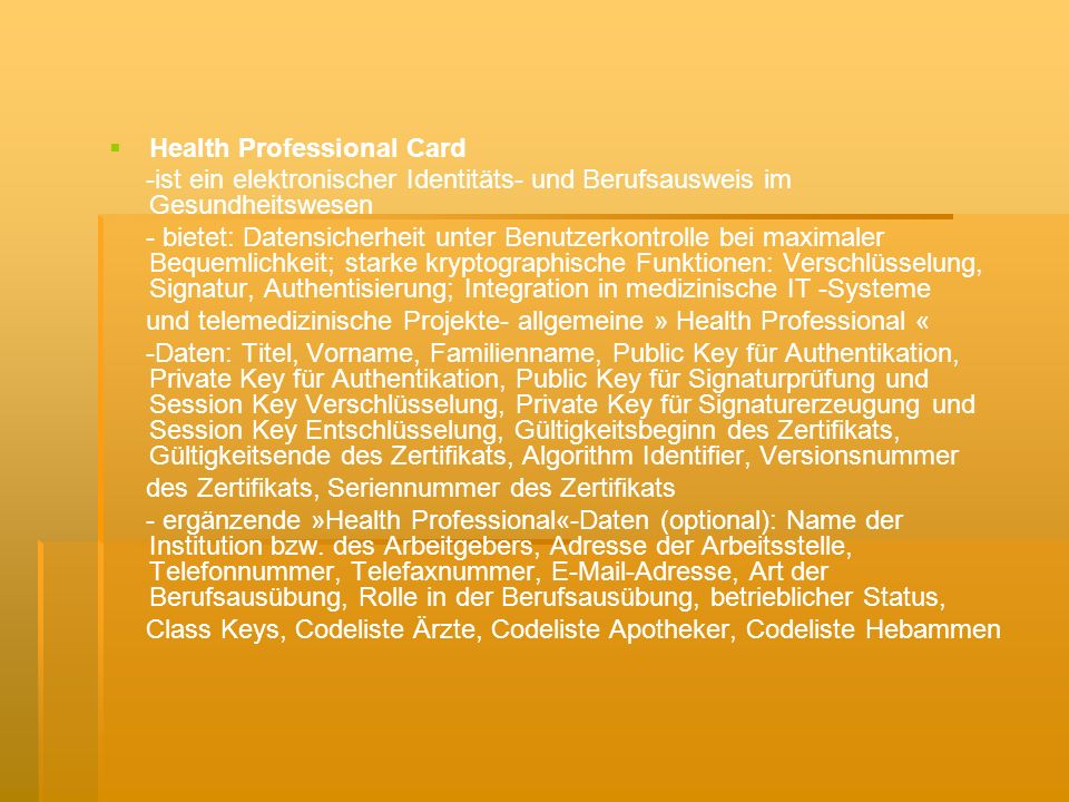 Health Professional Card