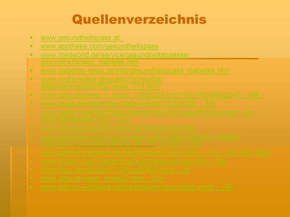 Quellenverzeichnis www.gesundheitspass.at