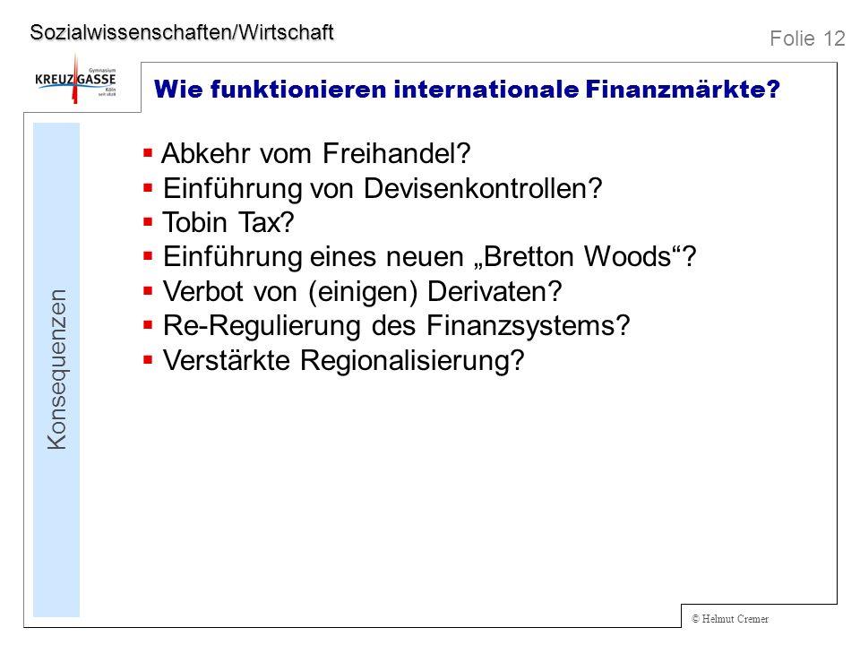 Einführung von Devisenkontrollen Tobin Tax