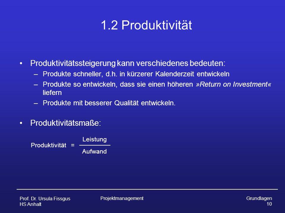 1.2 Produktivität Produktivitätssteigerung kann verschiedenes bedeuten: Produkte schneller, d.h. in kürzerer Kalenderzeit entwickeln.