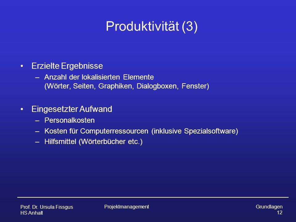 Produktivität (3) Erzielte Ergebnisse Eingesetzter Aufwand