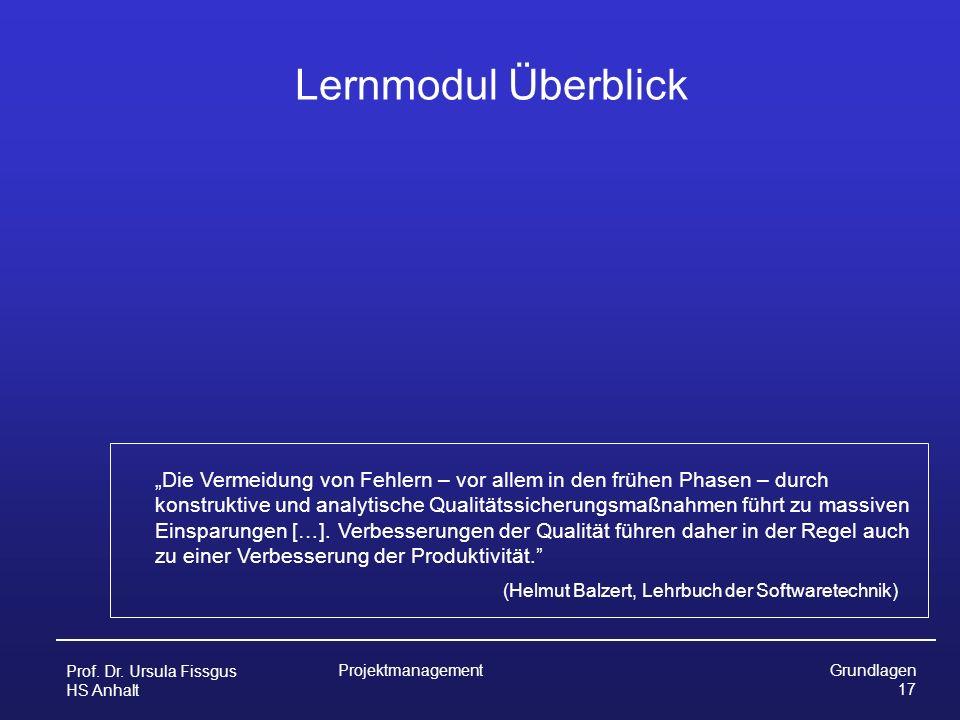 Lernmodul Überblick (Helmut Balzert, Lehrbuch der Softwaretechnik)