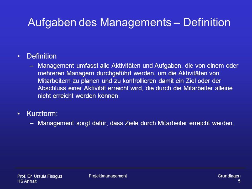Aufgaben des Managements – Definition