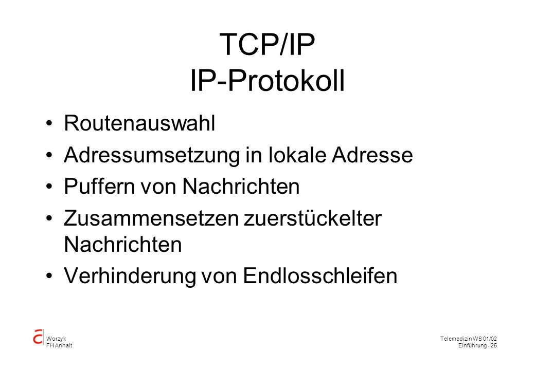 TCP/IP IP-Protokoll Routenauswahl Adressumsetzung in lokale Adresse