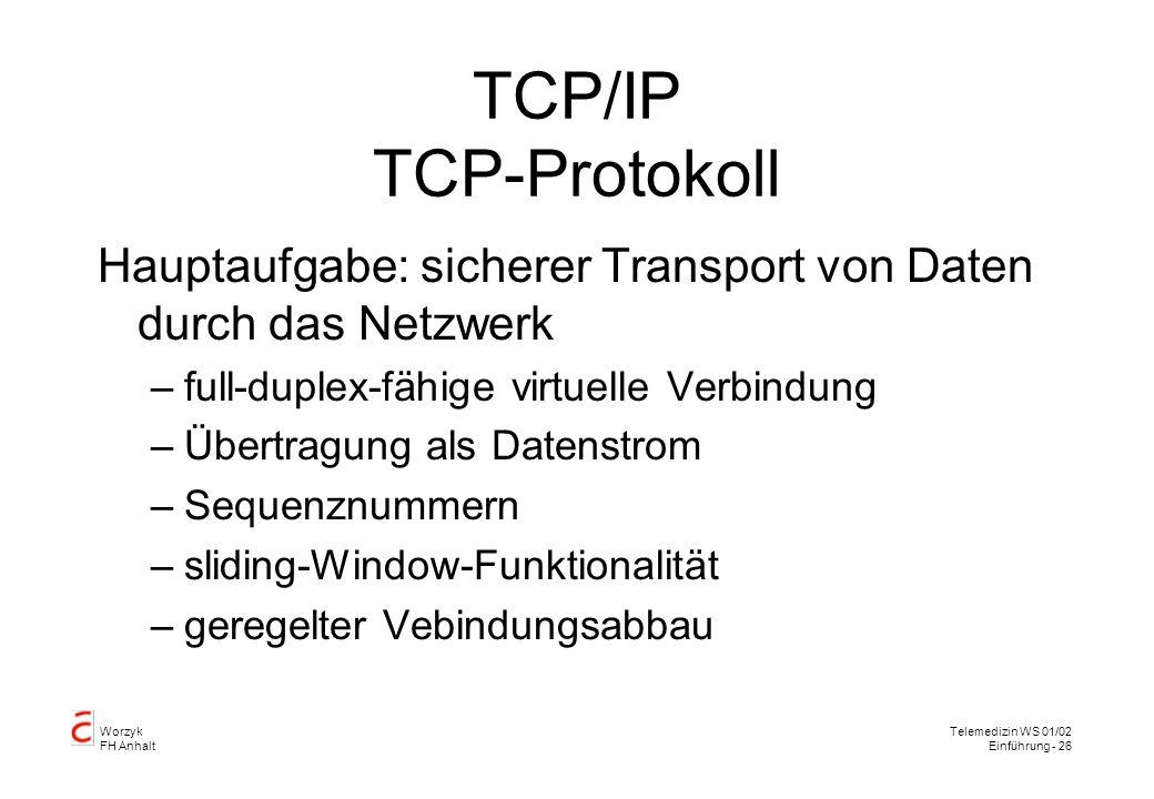 TCP/IP TCP-Protokoll Hauptaufgabe: sicherer Transport von Daten durch das Netzwerk. full-duplex-fähige virtuelle Verbindung.