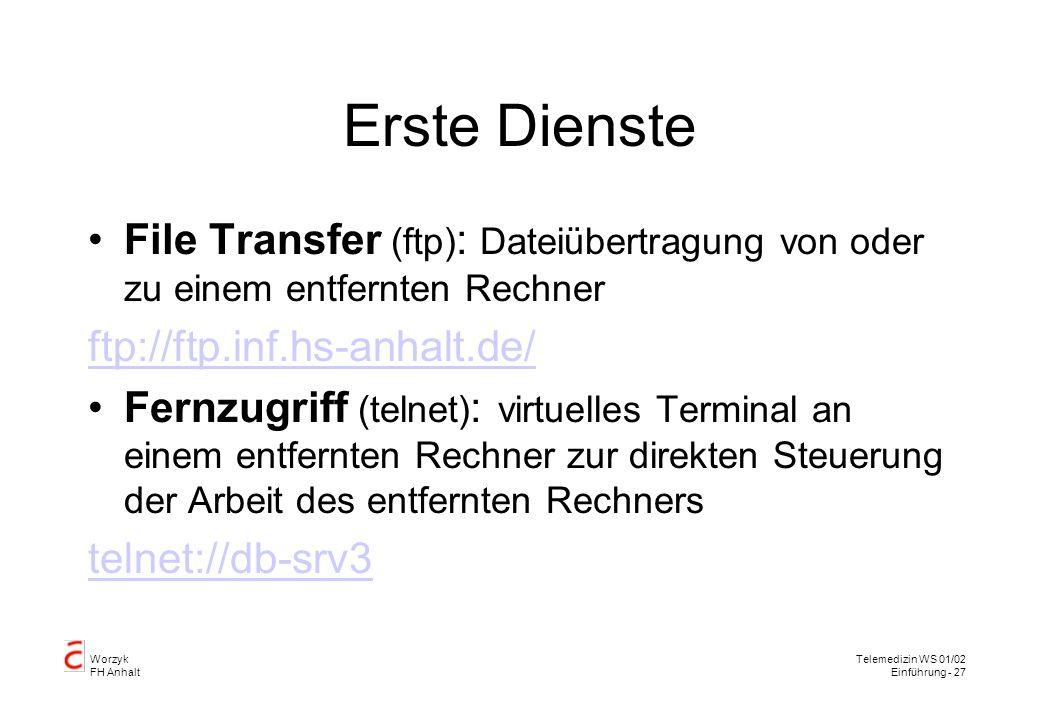 Erste Dienste File Transfer (ftp): Dateiübertragung von oder zu einem entfernten Rechner. ftp://ftp.inf.hs-anhalt.de/