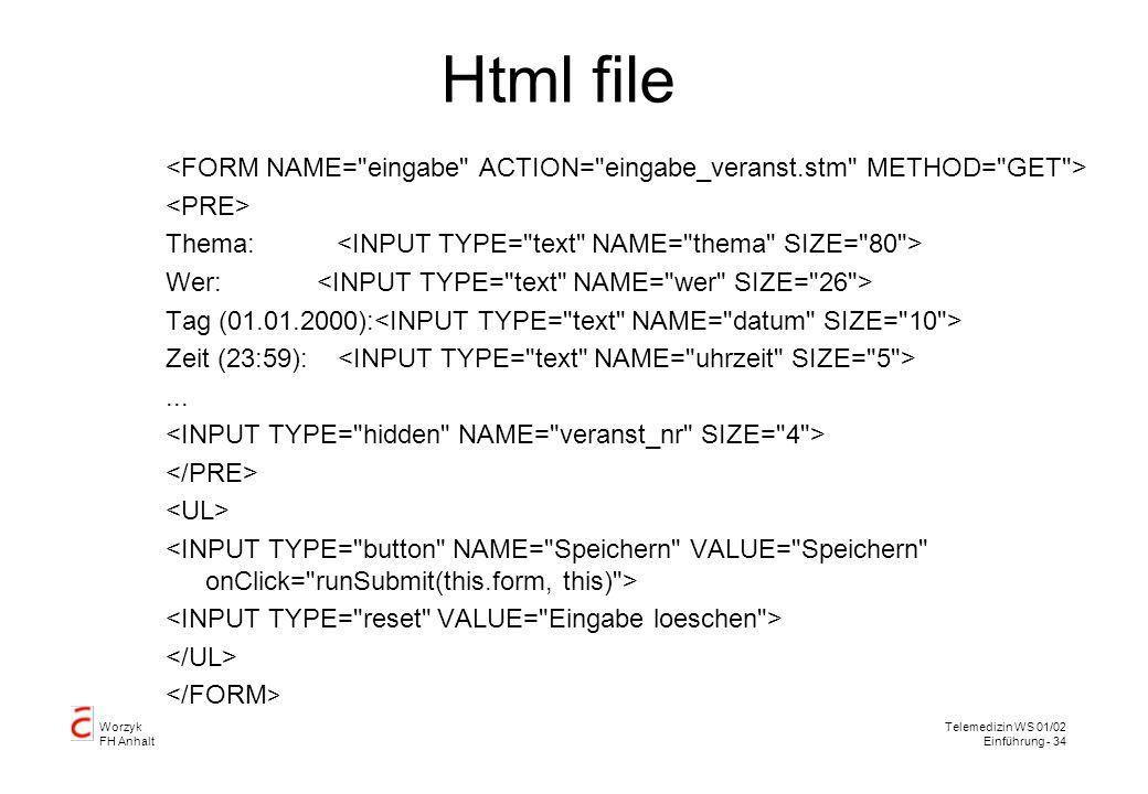Html file <FORM NAME= eingabe ACTION= eingabe_veranst.stm METHOD= GET > <PRE> Thema: <INPUT TYPE= text NAME= thema SIZE= 80 >