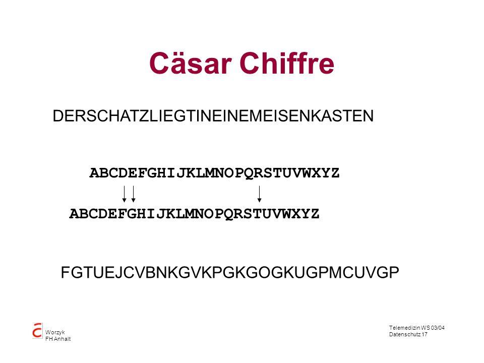 Cäsar Chiffre DERSCHATZLIEGTINEINEMEISENKASTEN