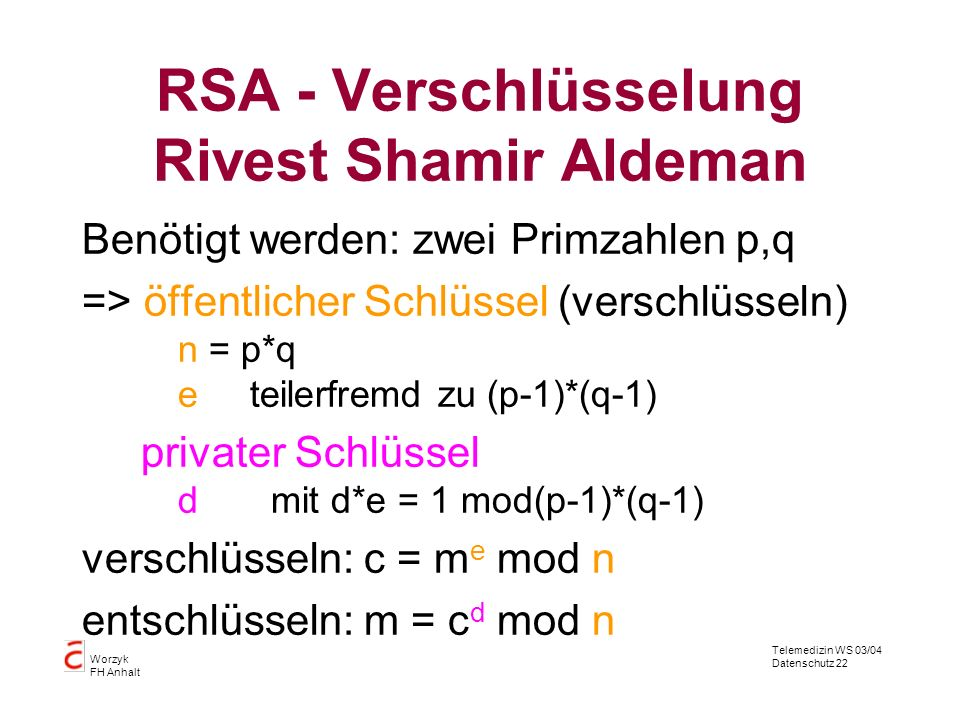 RSA - Verschlüsselung Rivest Shamir Aldeman