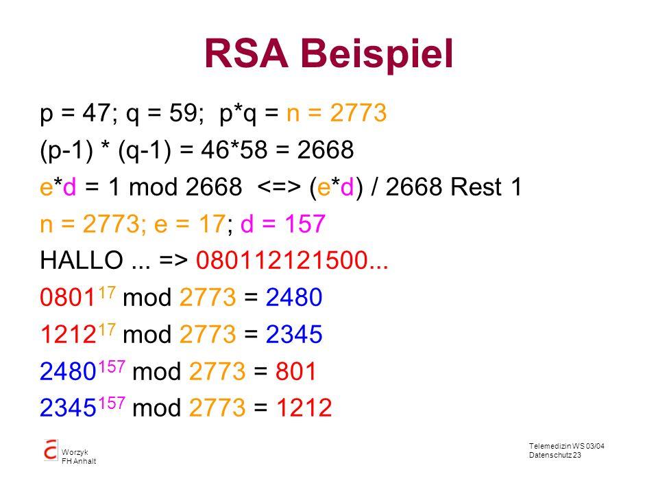 RSA Beispiel p = 47; q = 59; p*q = n = 2773