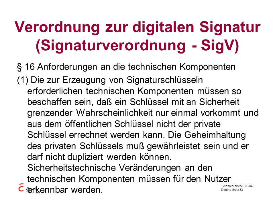 Verordnung zur digitalen Signatur (Signaturverordnung - SigV)